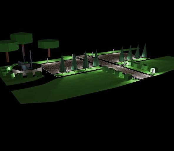 ZeldenHouse - Rendering illuminotecnico illuminazione piazza