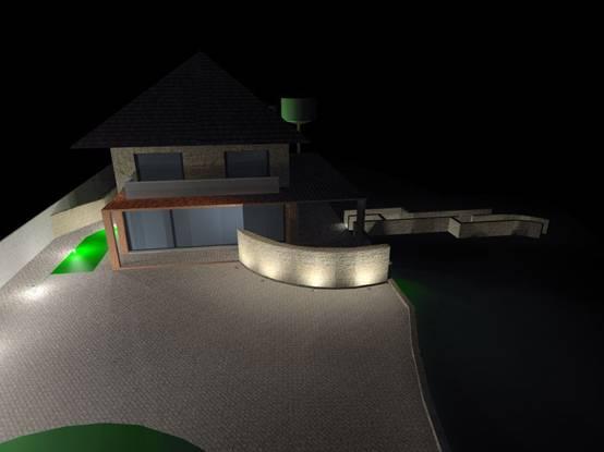 ZeldenHouse - Rendering illuminotecnico per illuminazione giardino villa
